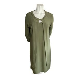 Joseph Ribkoff Olive Green Dress and Jacket    10